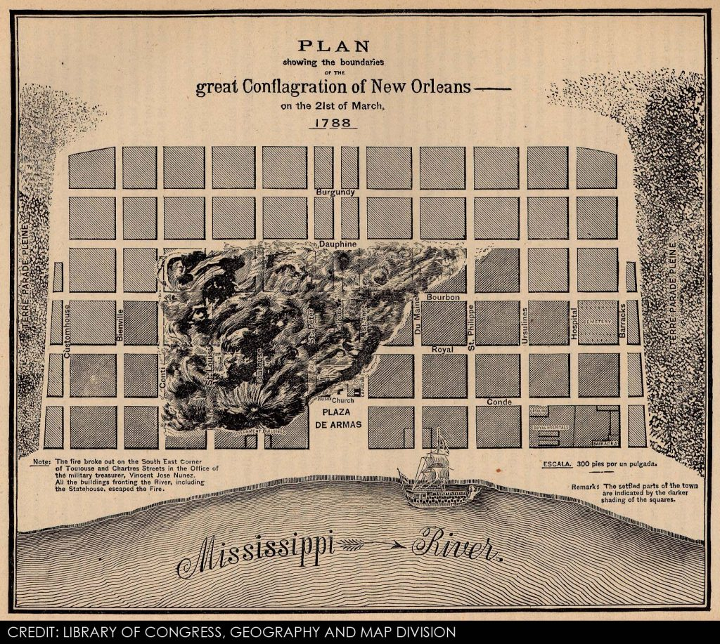 New_Orleans_fire_of_1788_map