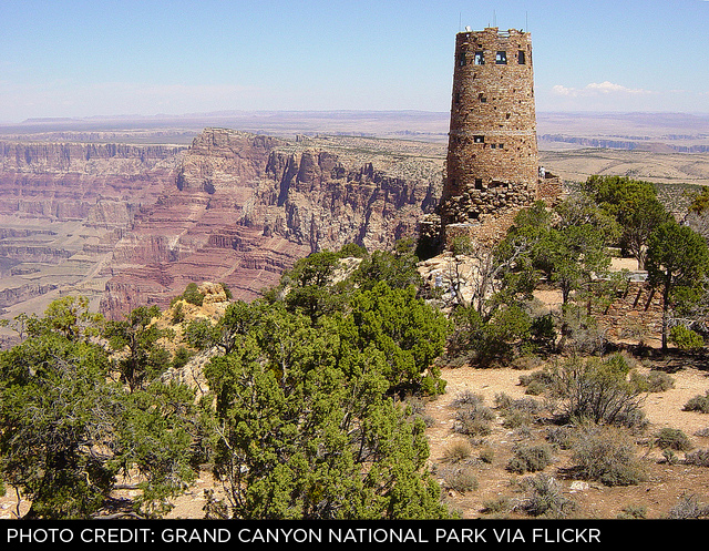 MARY COLTER'S WATCHTOWER AT DESERT VIEW, GRAND CANYON NATIONAL PARK.
